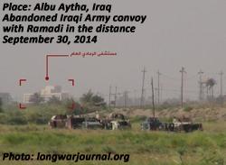 Abandoned Iraqi Army convoy outside Ramadi, Iraq