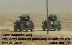 Iraqi Army Humvees patrolling at Baqubah, Iraq