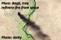 Fire at refinery at Baiji, Iraq, seen from space