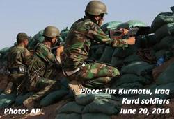 Kurd soldiers in Tuz Khurmatu, Iraq