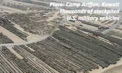 American tanks and military vehicles stockpiled in Kuwait