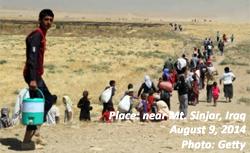 Yazidi refugees near Mt. Sinjar, Iraq, Iraq