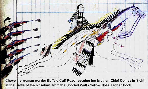 Pictograph by Cheyenne woman warrior Buffalo Calf Road Woman at the Battle of the Rosebud from Spotted Wolf / Yellow Nose Ledger book