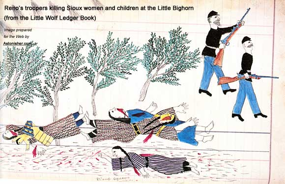 Reno's troopers killing Sioux women and children at the outset of the Battle of the Little Bighorn
