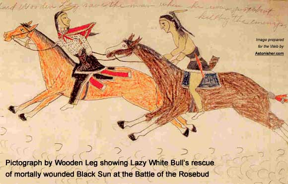 Wooden Leg's pictograph showing Lazy White Bull's rescue of mortally wounded Black Sun at the Battle of the Rosebud