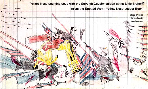 Yellow Nose counting coup with a Seventh Cavalry guidon at the Battle of the Little Bighorn