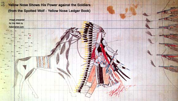 Yellow Nose shows his power against the soldiers, from the Spotted Wolf - Yellow Nose Ledger Book