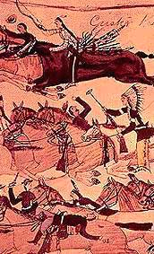 Detail from pictograph by Amos Bad Heart Bull showing Crazy Horse at the Battle of the Little Bighorn
