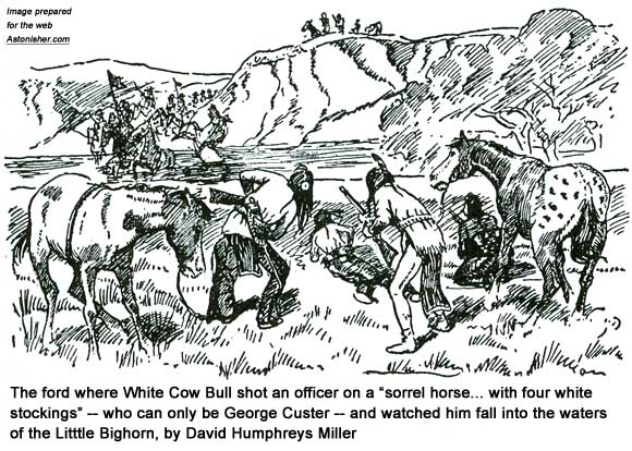 White Cow Bull shooting George Custer at Medicine Tail Coulee by David Humphreys Miller