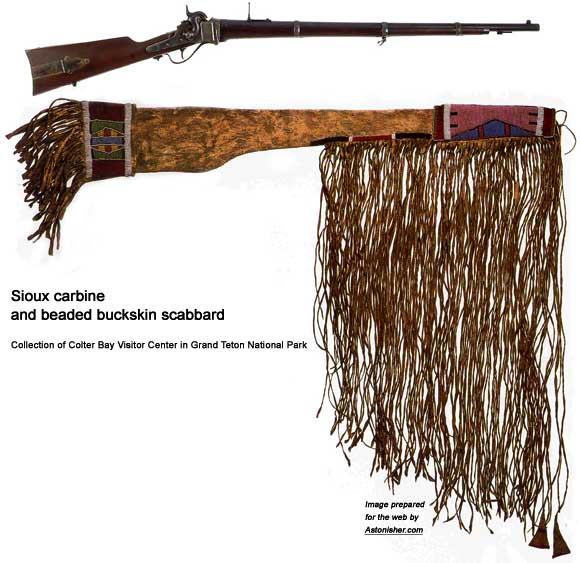 Sioux rifle and beaded buckskin carrying bag