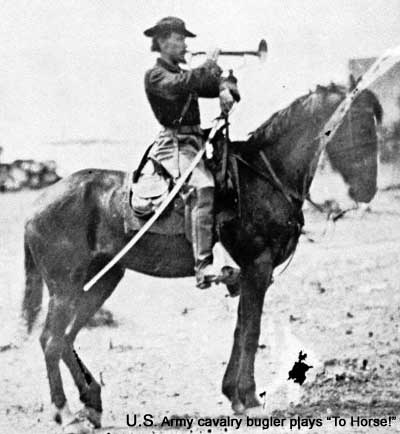 "U.S. Army cavalry bugler plays ""to horse!"""