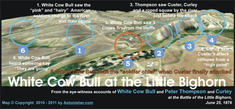 White Cow Bull at thew Little Bighorn Map