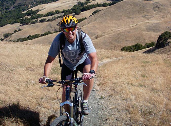 Paul Andrews climbing West Cuesta Ridge, San Luis Obispo, CA, August, 2002